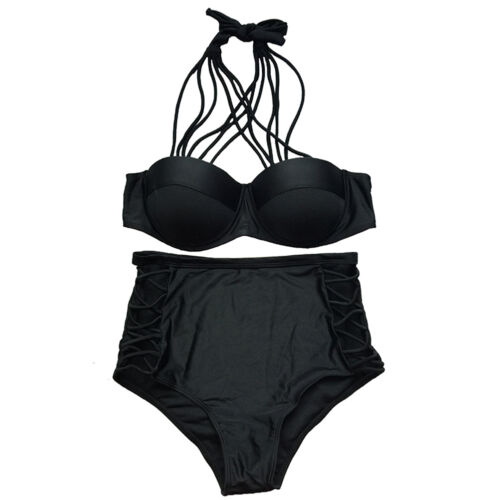 Damen Neckholder Bikini Push-Up Monokini Badeanzug Bademode Sommer Swimwear Neu
