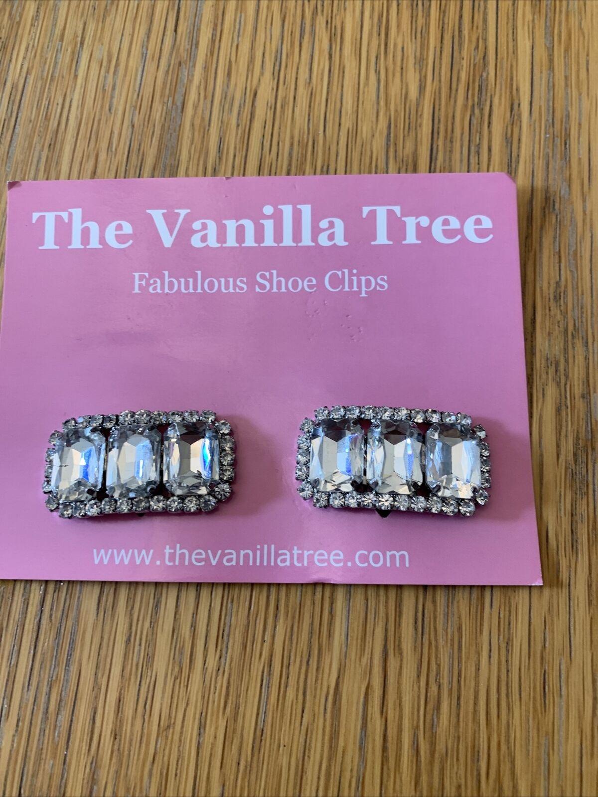 Wedding Bridal Bridesmaid Diamante Crystal Shoe Clips Brand New Oblong 3 stone