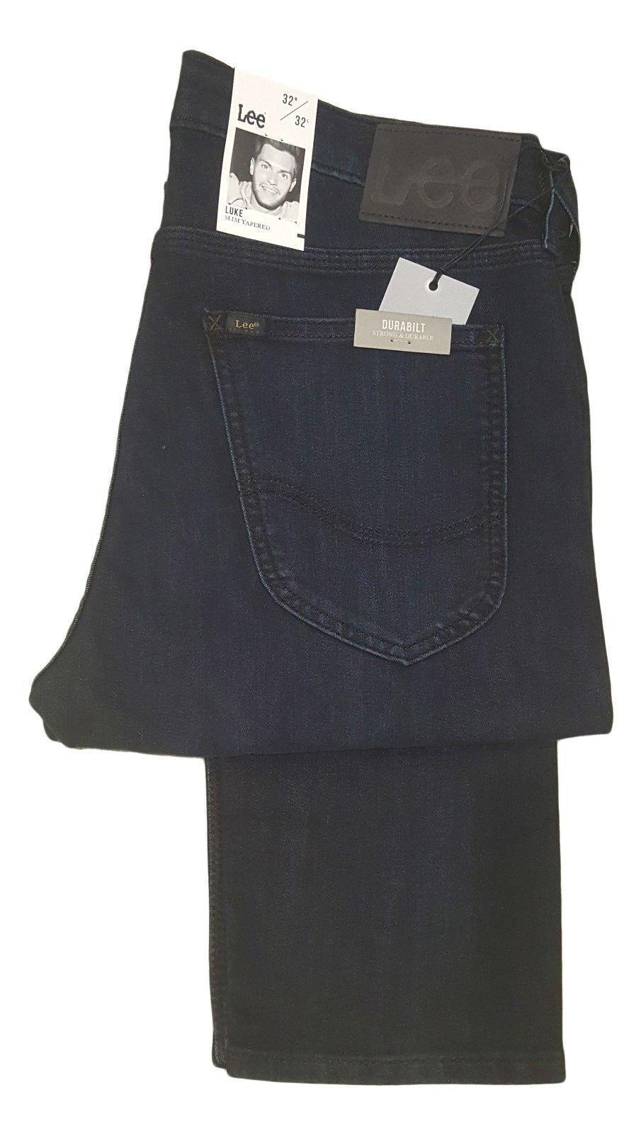 Mens Lee Luke Slim Fit Tapered Leg Fashion Jeans AAEC - Dark Ink bluee