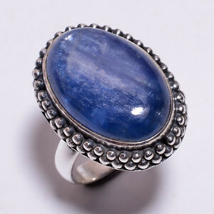 925-Solid-Sterling-Silver-Ring-Size-UK-O-Natural-Kyanite-Handcrafted-CR3282