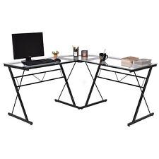 L-Shape Computer Desk Tempered Glass Laptop Table Workstation Corner Home Office