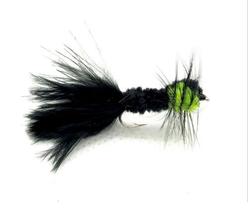 3 Green MONTANA Trout Flies MARABOU Tail Nymph Fly Fishing Size 10,12 LONG SHANK