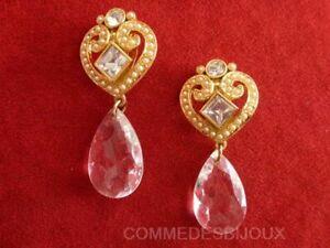 """B.o. """"coeur Stylisé"""" Nacre Goutte Amour Cupidon True Love - Bijoux Pur Vintage"""