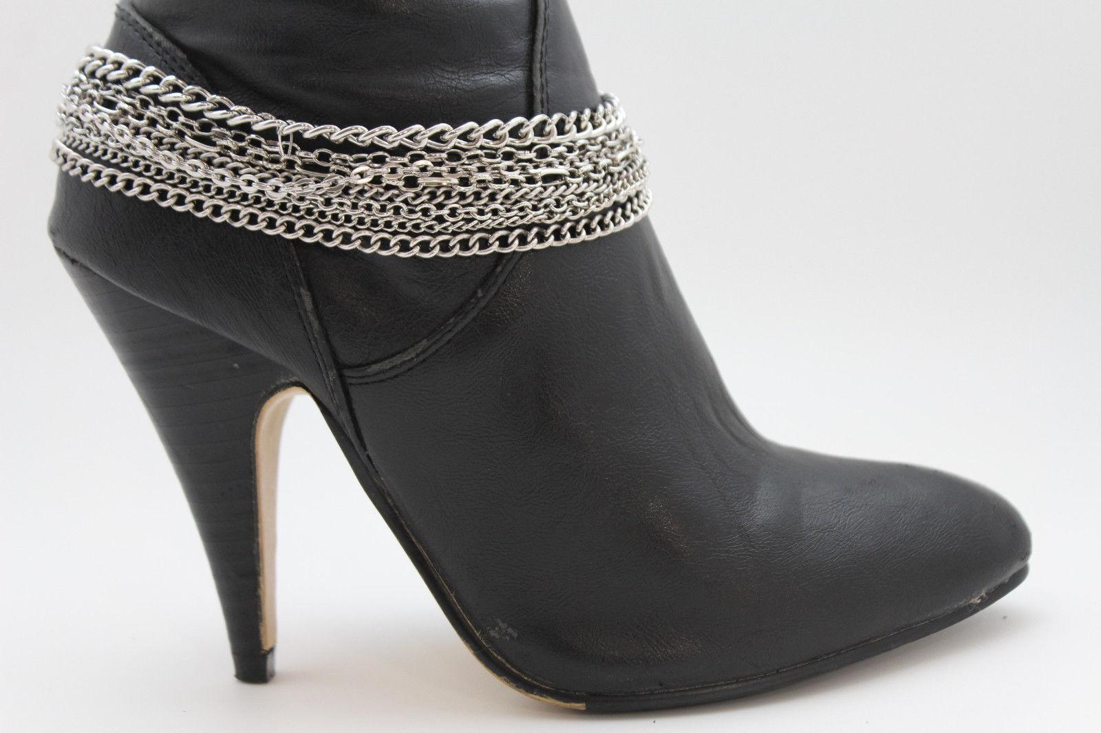 Women Fashion Boot Bracelet Silver Metal Chain Anklet Shoe Charm Biker Rocker