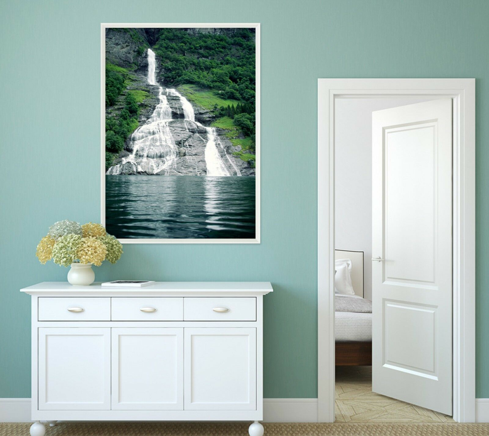3D Cascada Cliff 32 Enmarcado Cartel Decoración del Hogar Pintura de Impresión Arte AJ Wallpaper