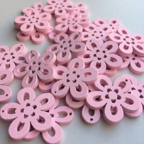25X Wood Craft Charms 24x24mm Pink Colour Flower Shape DIY Wooden Charms