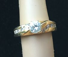 18K Solid Yellow Gold Diamond Engagement Wedding Ring 4.5 4 1/2 Large Center