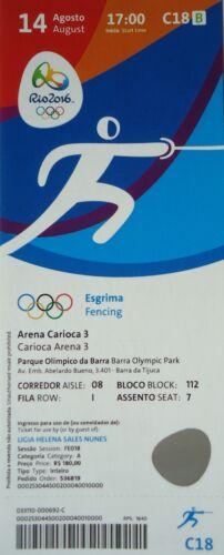 mint TICKET 14.8.2016 Olympia Rio Olympic Fechten Fencing # C18