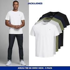 JACK&JONES Logo casual White t-shirt soft cotton crew neck short sleeve, 5pk