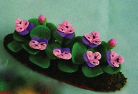 Pansies Lilac / Purple, Dolls House Miniature Flowers For A Garden Scene