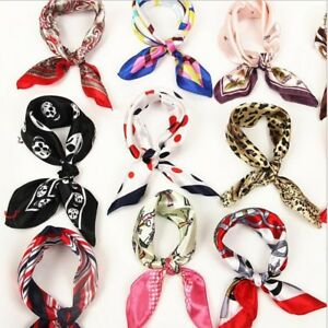 970d4ee4257 Details about New Women Square Silk Feel Satin Scarf Small Vintage Head  Neck Hair Tie Band UK