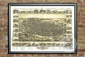 Old-Map-of-Richmond-IN-from-1884-Vintage-Indiana-Art-Historic-Decor
