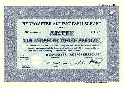 Breslau Schlesien Wroclaw Hydrometer Aktie 1000 RM 1941