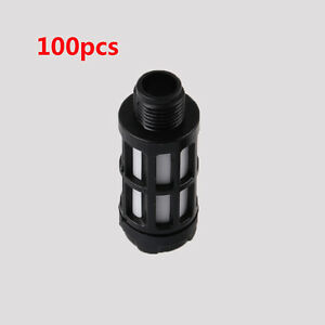 16mm 3/8 Male Thread Silencer Muffler Noise Absorb Deadener 100Pcs Black Plastic