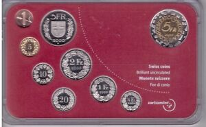 SWITZERLAN-D-9-DIF-UNC-COINS-MINT-SET-0-01-5-FRANCS-2000-YEAR-BASLER-BIMETAL