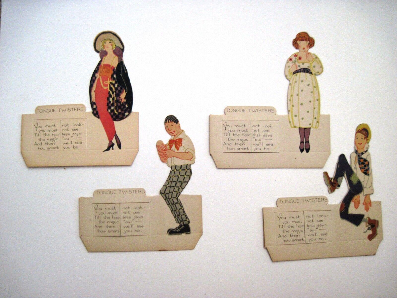 (1) juego de (4) 1920 tarjetas de lugar de puente Art Deco Con 2 mujeres y 2 Hombres