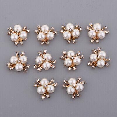 10 Rhinestone Gold Flower Flatback Button Embellishment Craft Wedding