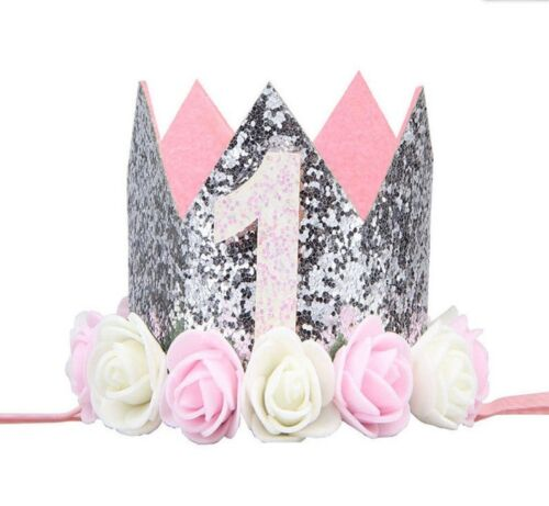 Princess Baby Girl 1st Birthday Flower Crown Party One /& Two Year Hairband Tiara