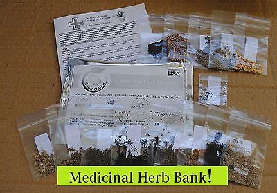 Medicinal Seed Bank 15 healing herbs Medicinal Herb Bank-Heirloom-Prepper Kit