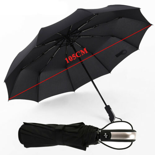 Windproof Travel 10 Ribs Compact Strong Automatic Open Close Umbrella Folding UK