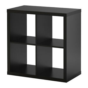 ikea black storage display unit shelving bookcase kallax 77x77cm ebay. Black Bedroom Furniture Sets. Home Design Ideas