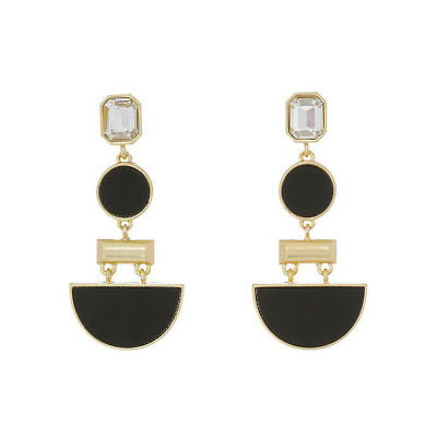 NEW Trent Nathan Modern Monotone Clip Drop Earring Black