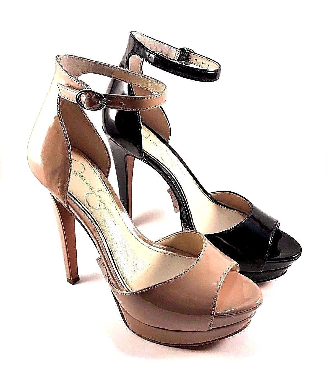 Jessica Simpson Sylvian  nero Patent High Heel Platform Ankle Strap Sandal  fino al 60% di sconto
