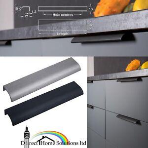 Hafele Ona Aluminium Profile Handle Brushed Black Grey Kitchen