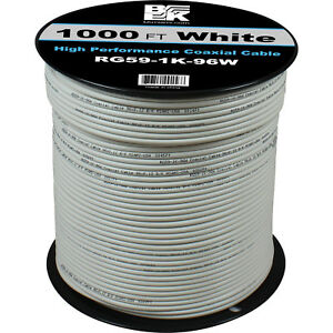 1000\' Feet RG59 Coaxial Coax Cable Spool Wire Bulk- White ...