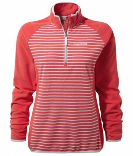 Watermellon Pink Craghoppers Womens Tille Half Zip Striped Microfleece Grey