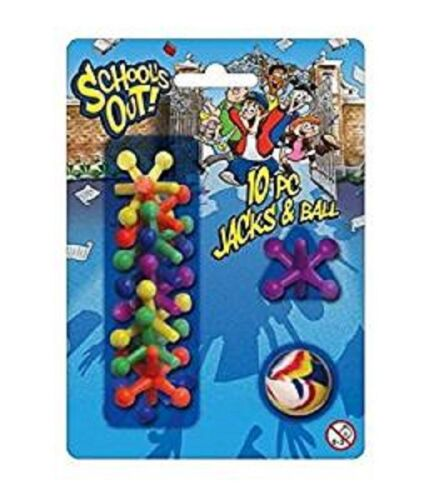 10 JACK con palla-TY4157 in plastica colorato Classic Bambini Tradizionale Gioco Divertente