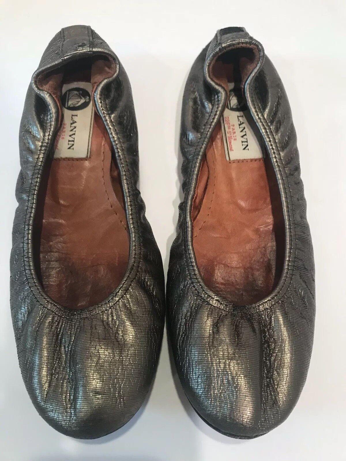 promozioni Lanvin oro Stretchy Stretchy Stretchy Rounded Toe Distressed Leather Donna Flats Dimensione 35.5  fino al 70% di sconto