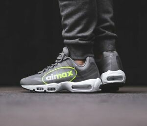 Details about Nike Air Max 95 NS GPX Big LOGO Grey VOLT Neon AJ7183 001 Men's 13 Running Shoes