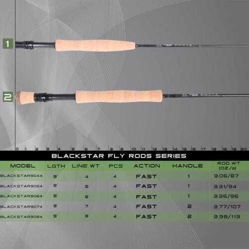 Maxcatch Black Star Fliegenrute 9ft 4//5//6//7//8WT 4 Teile Rute IM10 Blank
