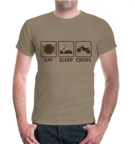 Herren Unisex Kurzarm T-Shirt Eat Sleep Cross Motorcross Crosser Stunts Tricks