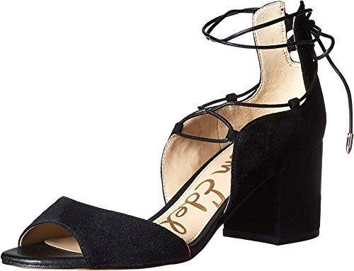aa3f18f3a616 Sam Edelman Women s Serene Black Suede Leather Dress Sandal Heel Sz ...