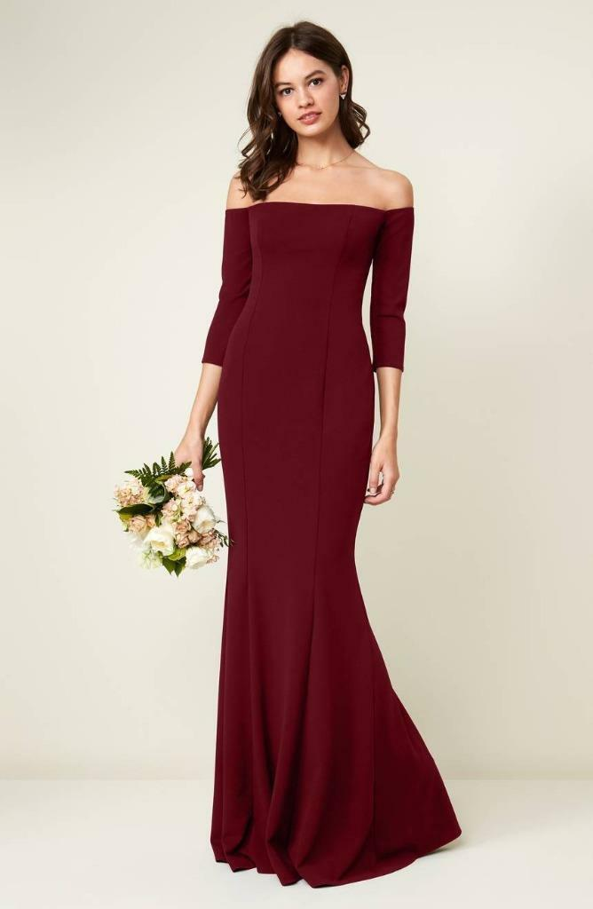 Katie May Brentwood Three-Quarter Sleeve Off the Shoulder Gown- Größe 10 (F)