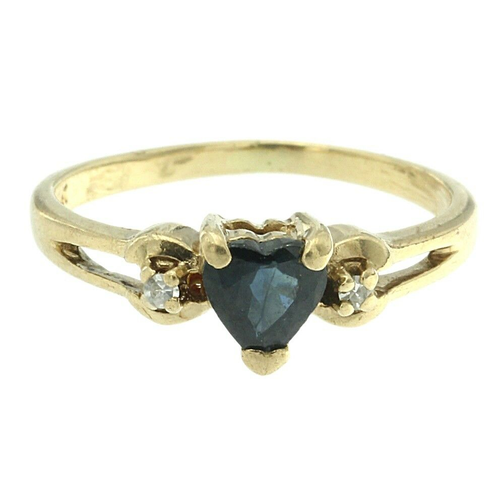 0.46ct Heart Cut Genuine Natural Sapphire & Diamond Ring Solid 10k Yellow gold