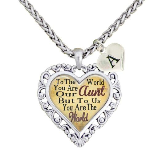 Custom Aunt You are the World To Us Heart Necklace Jewelry Choose Initial