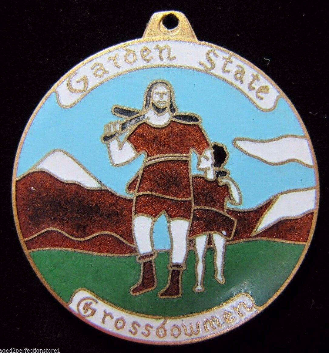 Vtg GARDEN STATE CROSSBOWMEN ARCHERY Medallion enamel ornate bow arrow medal