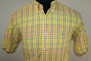 Ralph-Lauren-Mens-Blake-Long-Sleeve-Button-Down-Shirt-Size-Small-Yellow-Plaid