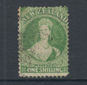 New-Zealand-Sc-37a-SG-125-used-1864-72-1sh-dull-yellow-green-QV-unlisted-Cert