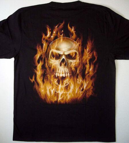 Tattoo motivo llamas Skull t-shirt M L XL XXL streetwaer fluorescente gw-25