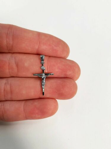 Religieux Pendentif Croix 925 Sterling Argent Inri Crucifix Collier