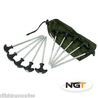 10 X HEAVY DUTY NGT CARP FISHING BIVVY PEGS CAMPING TENT PEG IN DRAWSTRING BAG