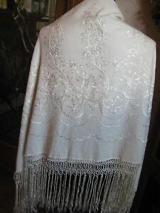 Antique Piano Shawl OFF-WHITE SILK Embroidered Fringe Vintage Flapper 20s 30s