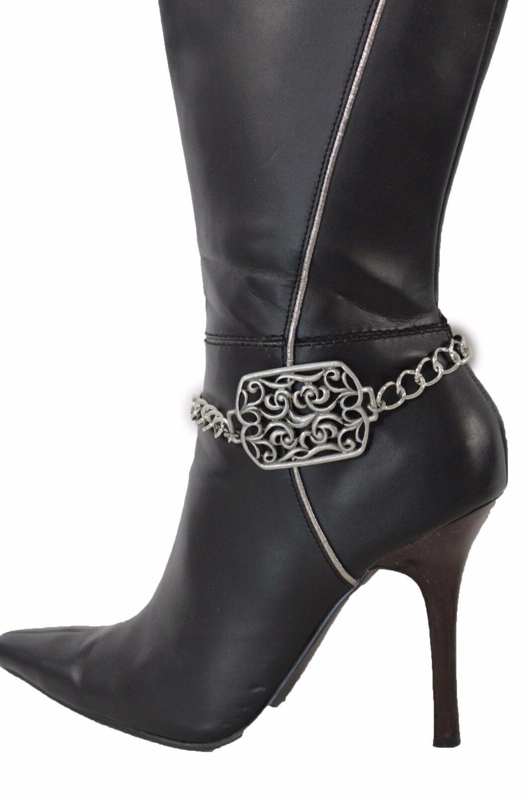 Women Boot Bracelet Silver Metal Chain Anklet Fashion Shoe Square Floral Charm
