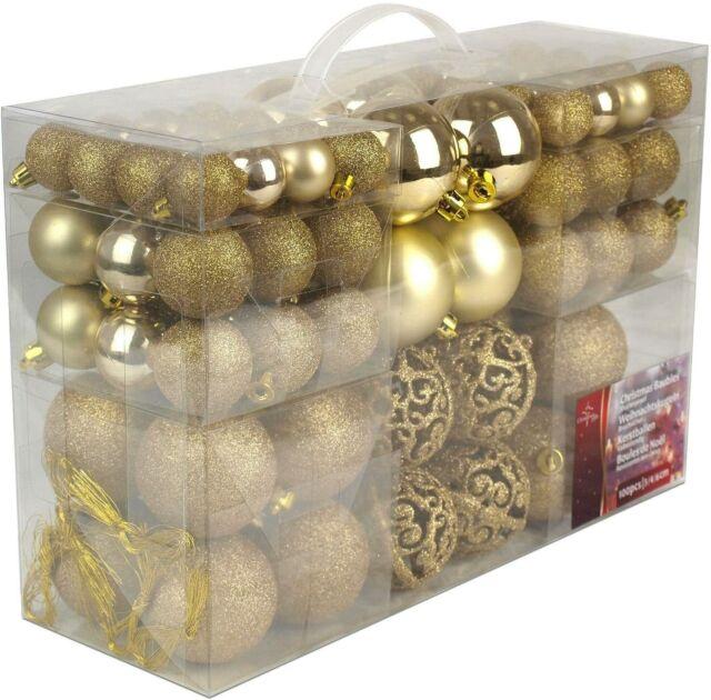 100 x Decorazioni per albero di Natale, Scatola Palline da appendere colore Oro