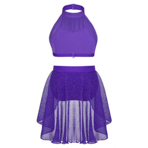 Girls Lyrical Dance Dress Outfit Kids Mock Neck Crop Top+Bottoms Set Dancewear