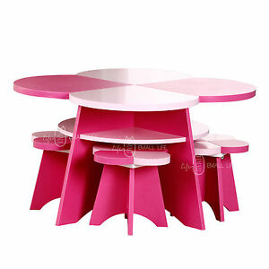 clearance kids children floral table and 4 chairs pink. Black Bedroom Furniture Sets. Home Design Ideas